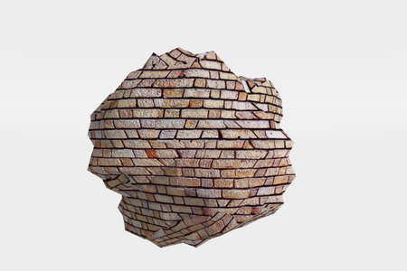 A bricked type rock isolated against a white background