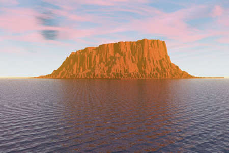 Illustration of a rocky island in the sea. illustration