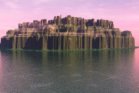 Illustration of an eroded island at sea. Stock Illustration - 4654191