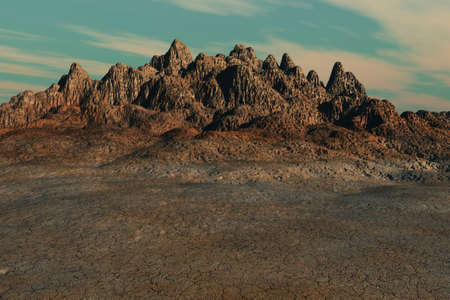 An arid landscape highlighted by a dry mountain formation. Imagens