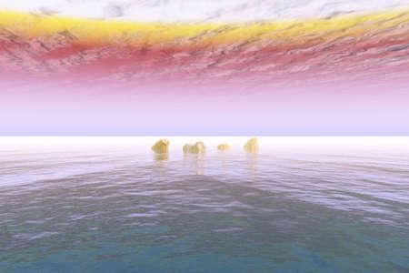 Illustration of a very vivid cloud scene over the sea. Stock Illustration - 4663141