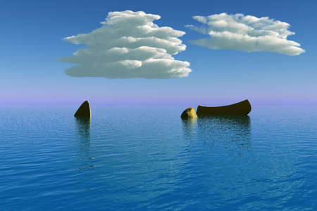 An old boat at sea with a couple rocks protruding from the water.