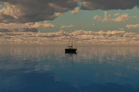 海と雲と地平線に向かってセーリング船。