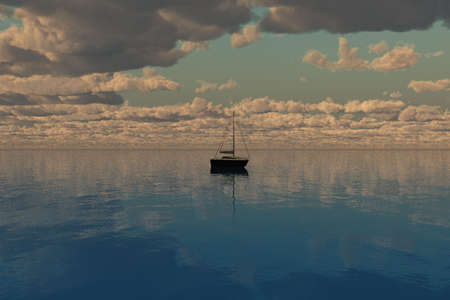 toward: Ship sailing toward the horizon with sea and clouds. Stock Photo