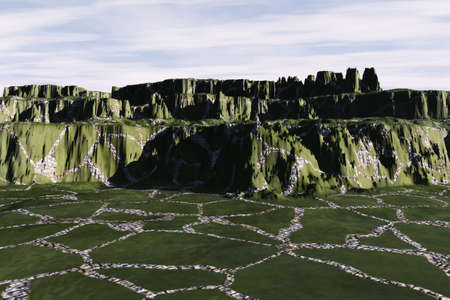 Trails leading to a green textured mountain. Stock Photo - 4695869