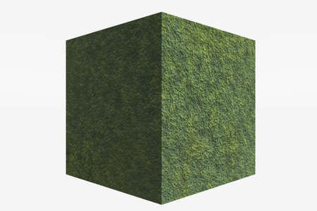 A cube with a grass-like texture isolated against white. Zdjęcie Seryjne