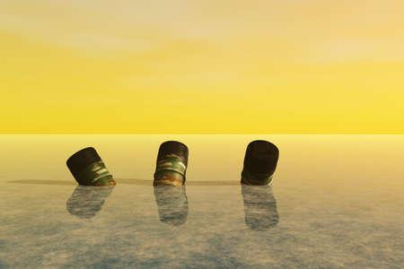 Empty barrels of waste dumped in the ocean. photo