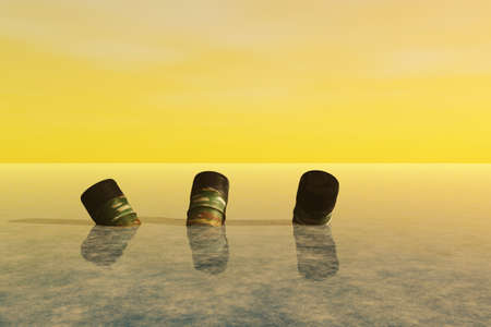 filthy: Empty barrels of waste dumped in the ocean. Stock Photo