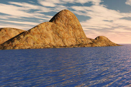 A rugged and lifeless island surrounded by the sea. Stock Photo - 4710423