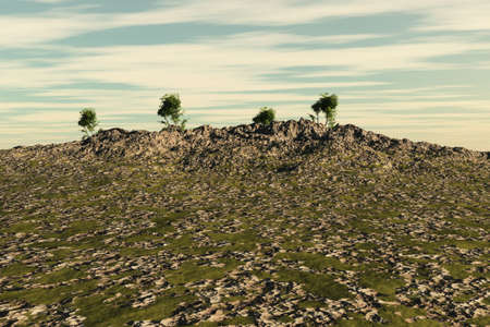 Large stones leading upwards to a hilltop with a few trees. Stock Photo - 4740166