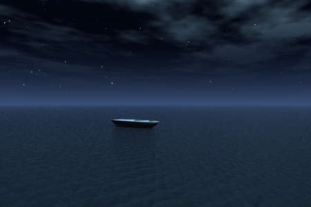 sea horizon: A boat drifting over a star covered sea at night.