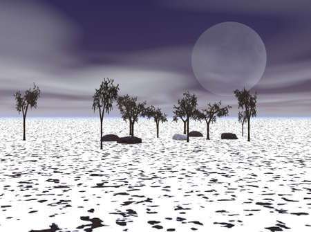 A cold winter's evening with a full moon in the background. Stock Photo - 4801988