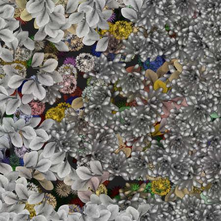 Silver Florals Vector