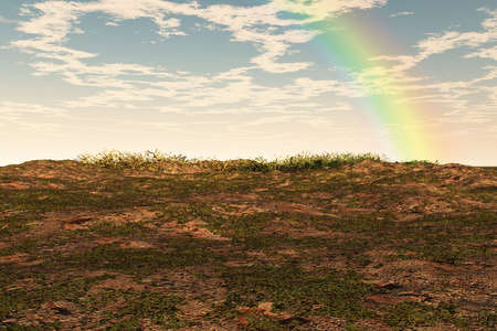 Rainbow bursting over a small patch of landscape. Stock Photo - 4898456