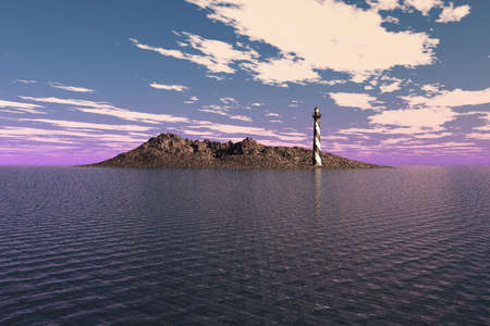 barren: Lighthouse on a barren island in the sea.