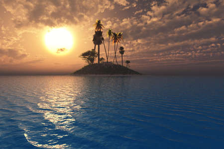 Surreal tropical setting with vibrant sunset and sea over an island.
