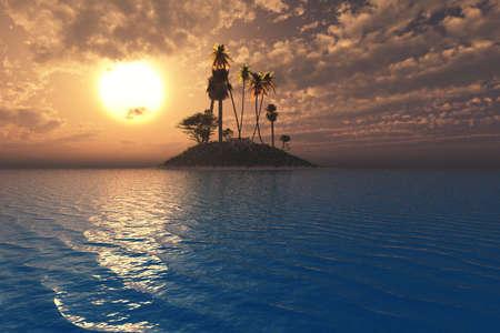 Onwerkelijk tropische setting met levendige zonsondergang en de zee op een eiland.