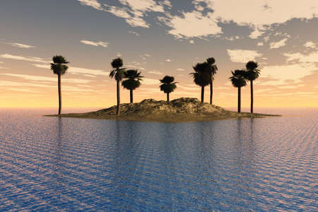 Island with palm trees surround by a tropical sea. Stock Photo - 4954301
