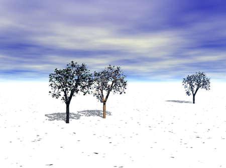 冬の雪カバーはフォア グラウンドでのみいくつかの木の風景。