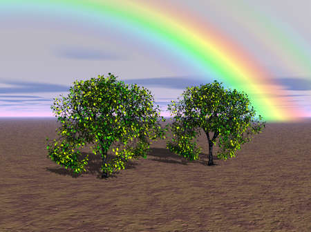 Brilliant rainbow beaming over a rural landscape. Stock Photo - 5019985