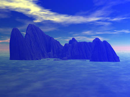 A very dense haze and fog covering the sea and mountain island. Stock Photo - 5019970