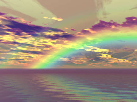 Vibrant rainbow appearing over the clouds and sea.
