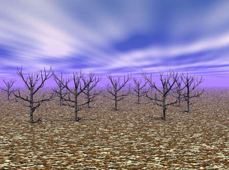 barren: A lifeless and very dry and arid landscape.
