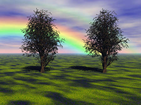 Vibrant rainbow over a meadow and maple trees. photo