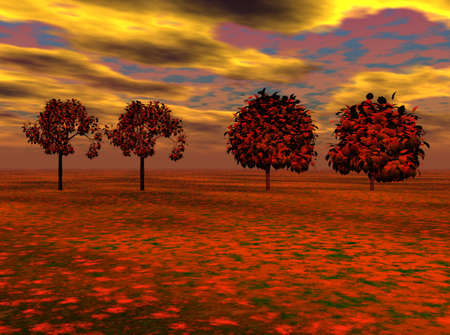 flowered: Line of maple trees in a flowered meadow with vibrant sky in background.