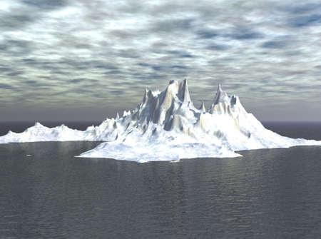 Iceberg looming in the distance in the sea scene. photo