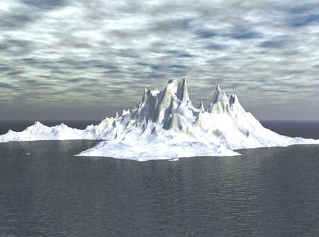 glacial: Iceberg looming in the distance in the sea scene.
