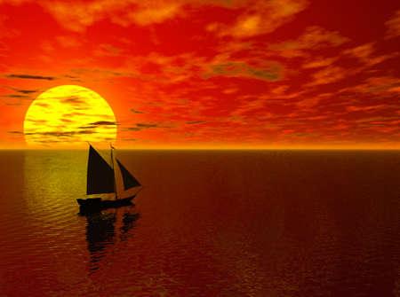 Calm sea with ship sailing toward the horizon. Stockfoto