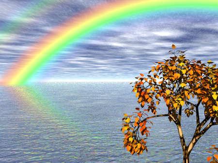 色鮮やかな虹は夏の海。