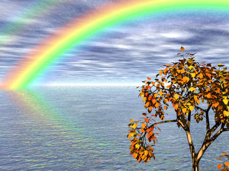Brightly colored rainbow over the summer sea.