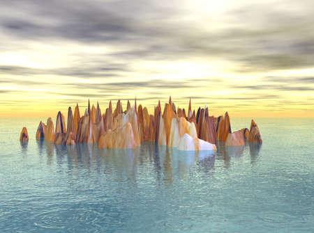 Peaks of rock arising out of the ocean.