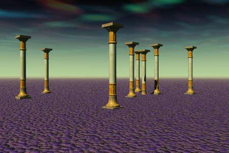 Various columns on a purplish landscape.