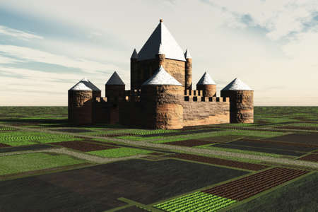 A fortresscastle surrounded by agricultural fields. photo