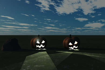 Halloween concept highlighted by eerie pumpkins Stock Photo - 6415669