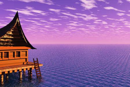 Nice house on the edge of the ocean. photo