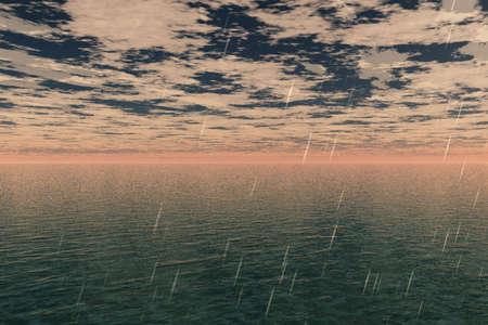 Rain drops slashing and dropping across the sea. photo
