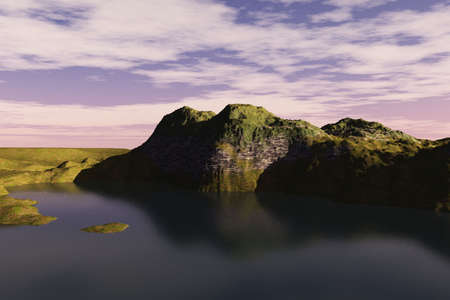 Beautiful dark water and cliff in this bay scene. Stock Photo - 6455071