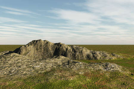 Very rough and rocky area in an expansive landscape.