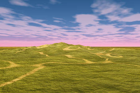 hilly: Nice landscape scene with paths winding through a hilly area. Stock Photo
