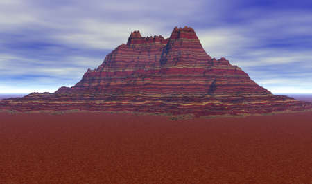 barren: Crimson colored mountain surrounded by a sparse landscape.