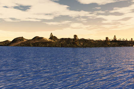 Island with trees and other vegetation on the sea. Stock Photo - 6456915