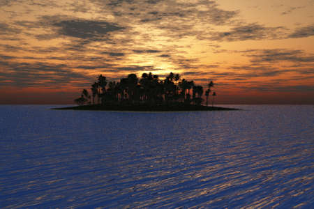 Brilliant sunset behind a tropical island in the sea. Stock Photo - 6456906