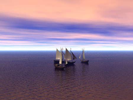 タイトなグループで海に多数のヨット。