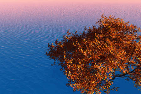 Bright foliage of a maple tree against background of the sea.