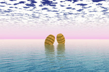 Couple of barrels floating on top of the sea.