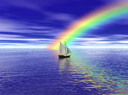 rainbow clouds: A sailboat sailing toward a vibrant rainbow. Stock Photo